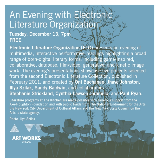 Advertisement for the December 13th ELC2 launch at the Kitchen in NYC